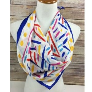 Vintage Ken Done Scarf Silk Geometric Triangles